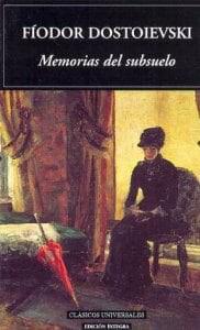 Portada de la novela Memorias del subsuelo de fiodor dostoyevski